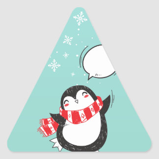 Cute Teal Penguin Holiday Xmas Christmas Gift Triangle Sticker