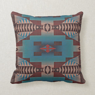 Cute Teal Rustic Cabin Native Indian Tribe Pattern Throw Pillow