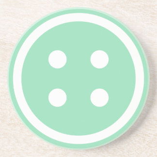 Cute Teal Sewing Button Drink Coaster