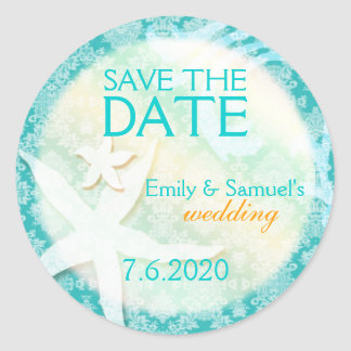 Cute Teal Starfish Beach Wedding Save the Date Classic Round Sticker