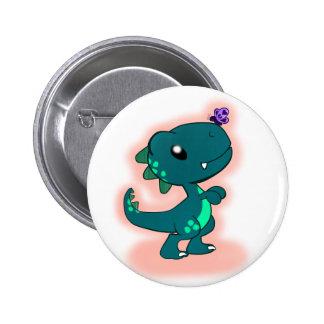 Cute Teal T-Rex 2 Inch Round Button