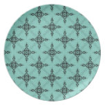 Cute Teal Turquoise and Black Damask Pattern Plate