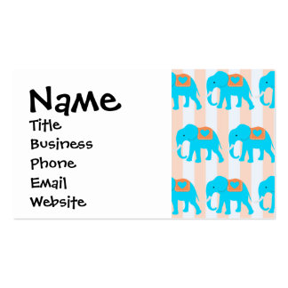 Cute Teal Turquoise Blue Elephants on Peach Stripe Business Card