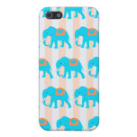 Cute Teal Turquoise Blue Elephants on Peach Stripe Case For iPhone SE/5/5s