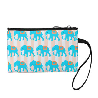 Cute Teal Turquoise Blue Elephants on Peach Stripe Coin Purse
