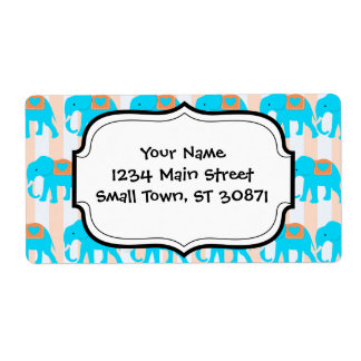 Cute Teal Turquoise Blue Elephants on Peach Stripe Personalized Shipping Label
