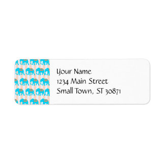 Cute Teal Turquoise Blue Elephants on Peach Stripe Labels