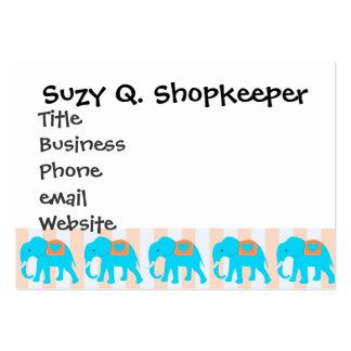Cute Teal Turquoise Blue Elephants on Peach Stripe Large Business Card