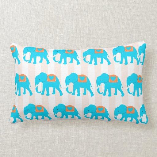 Cute Aqua Throw Pillows : Cute Teal Turquoise Blue Elephants on Peach Stripe Throw Pillow Zazzle