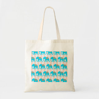Cute Teal Turquoise Blue Elephants on Peach Stripe Tote Bag