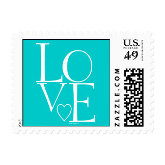Cute Teal White Modern Love Postage Stamps