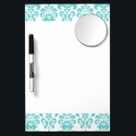 "Cute Teal White Vintage Damask Pattern 2 Dry Erase Board With Mirror<br><div class=""desc"">Cute,  girly teal blue and white vintage damask pattern is a perfect gift for her. A chic,  trendy shade of aqua blue or teal damask pattern template with swirls which you can further customize and personalize with your name or monogram initial to create your own unique design.</div>"