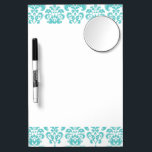 """Cute Teal White Vintage Damask Pattern 2 Dry Erase Board With Mirror<br><div class=""""desc"""">Cute,  girly teal blue and white vintage damask pattern is a perfect gift for her. A chic,  trendy shade of aqua blue or teal damask pattern template with swirls which you can further customize and personalize with your name or monogram initial to create your own unique design.</div>"""