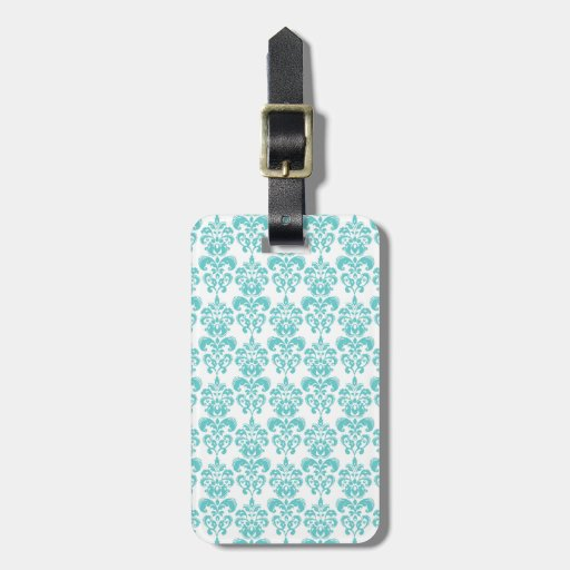 Cute Teal White Vintage Damask Pattern 2 Tags For Luggage