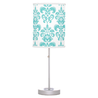 Cute Teal White Vintage Damask Pattern 2 Table Lamp