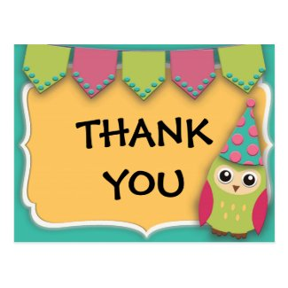 Cute Teal, Yellow, Pink, Green Owl Flags Thank You Postcard