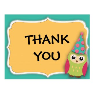 Cute Teal, Yellow, Pink, Green Owl Thank You Postcard
