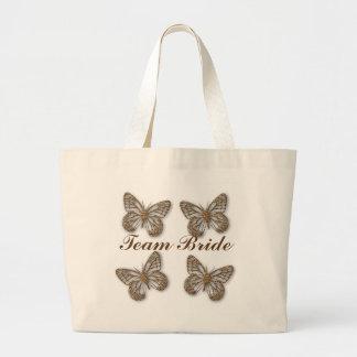 Cute Team Bride Gold Butterflies Large Tote Bag