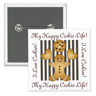 Cute Team Cookie Stripes Personalized Girls Button