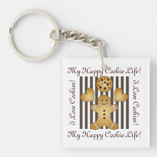 Cute Team Cookie Stripes Personalized Kids Keychain