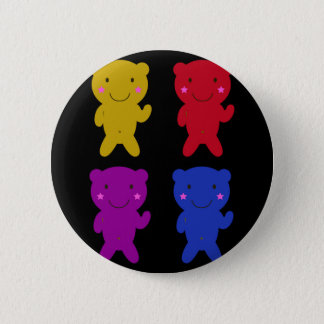 Cute teddies on black pinback button