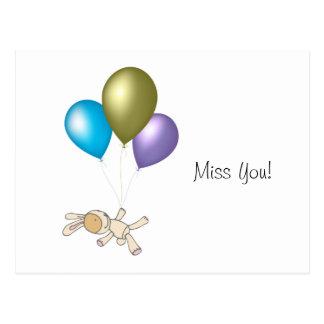 Cute Teddy and Balloons Cartoon Art Postcard