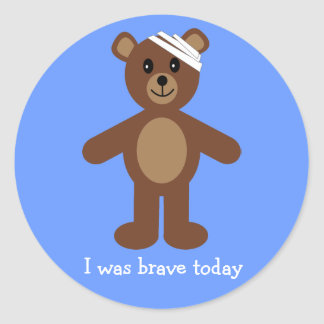 Cute Teddy & Bandage I Was Brave Blue Stickers
