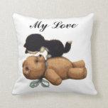 Cute Teddy Bear And Black Cat - My Love Throw Pillows