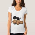 Cute Teddy Bear And Black Cat T Shirts
