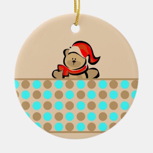 Cute Teddy Bear and Polka Dots Ornaments