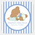 Cute Teddy Bear Baby Shower Square Sticker!