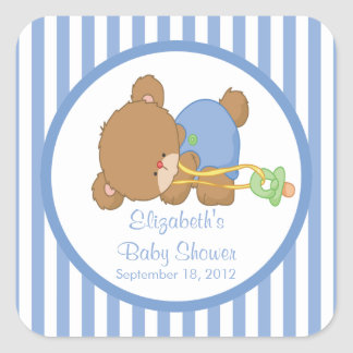 Cute Teddy Bear Baby Shower Square Sticker! Square Sticker