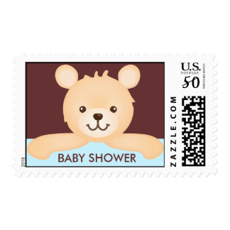 Cute Teddy Bear Baby Shower Stamps (blue)