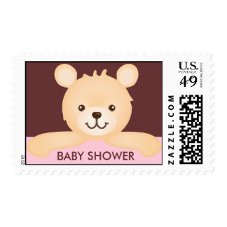 Cute Teddy Bear Baby Shower Stamps (pink)