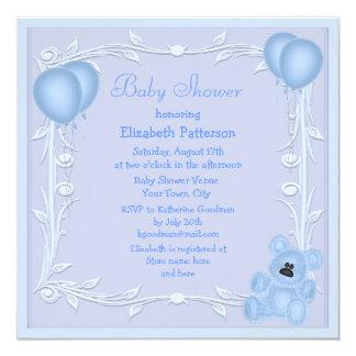 Cute Teddy Bear & Balloons Blue Baby Shower Invite