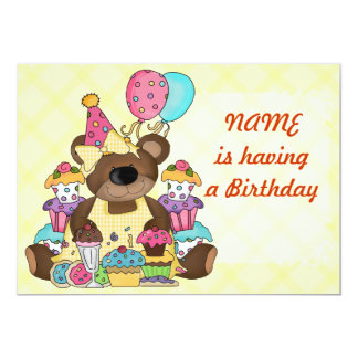 Cute Teddy Bear Birthday Party Card
