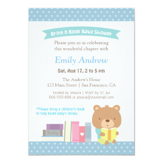Cute Teddy Bear Blue Polka Dots Book Baby Shower Personalized Announcement Card