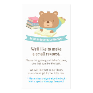Cute Teddy Bear Book Baby Shower Book Request Business Card