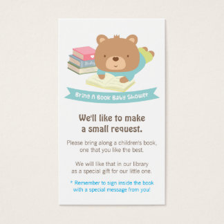 Cute Teddy Bear Book Baby Shower Book Request Business Card