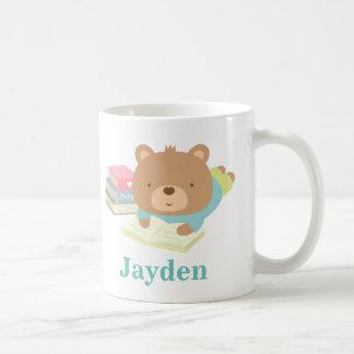 Cute Teddy Bear Boy Reading Books Coffee Mug