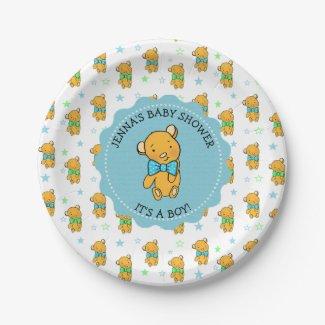 Cute Teddy Bear Boy's Baby Shower Paper Plate