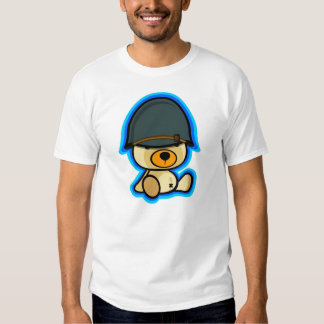 cute teddy bear brave soldier in white shirt