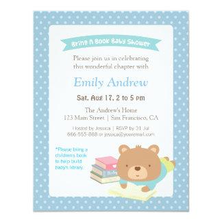 Cute Teddy Bear Bring a Book Baby Shower 4.25x5.5 Paper Invitation Card
