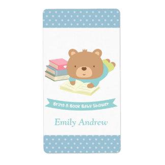 Cute Teddy Bear Bring a Book Baby Shower Label