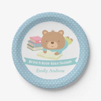 Cute Teddy Bear Bring a Book Baby Shower Paper Plate
