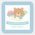 Cute Teddy Bear Bring a Book Baby Shower Square Sticker