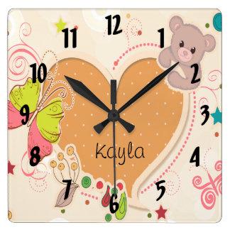 cute teddy bear butterfly heart kids square wallclocks