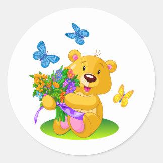 Cute teddy bear classic round sticker