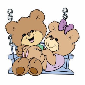 cute teddy bear couple romance on bench swing cutout