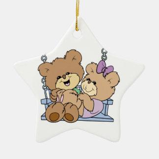 cute teddy bear couple romance on bench swing Double-Sided star ceramic christmas ornament